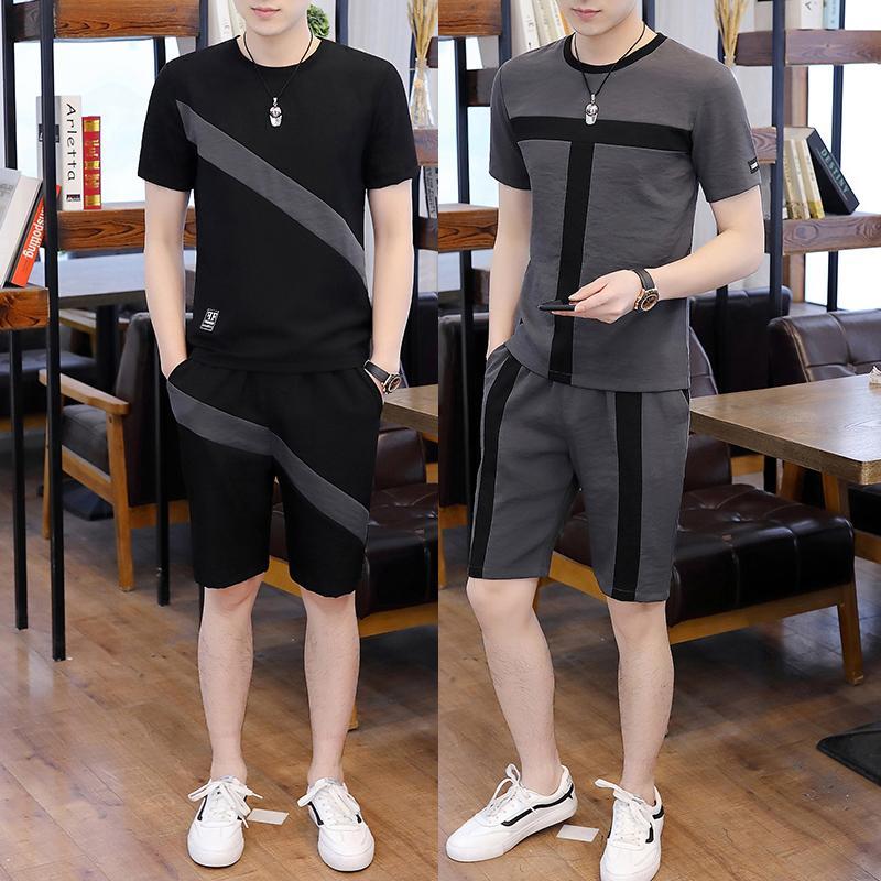 Şort Erkek Eşofman Koşu Homme Giyim + Yaz Casual Spor Suits Erkekler Kısa Kol Seti Erkekler Eşofman T shirt
