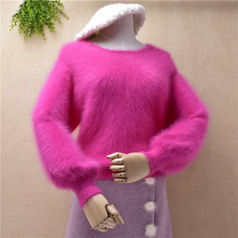 2020 Inverno nuovo modo caldo morbido femminile breve maglione lanterna manicotto solido casuale Esile Colore Pullover Semplice