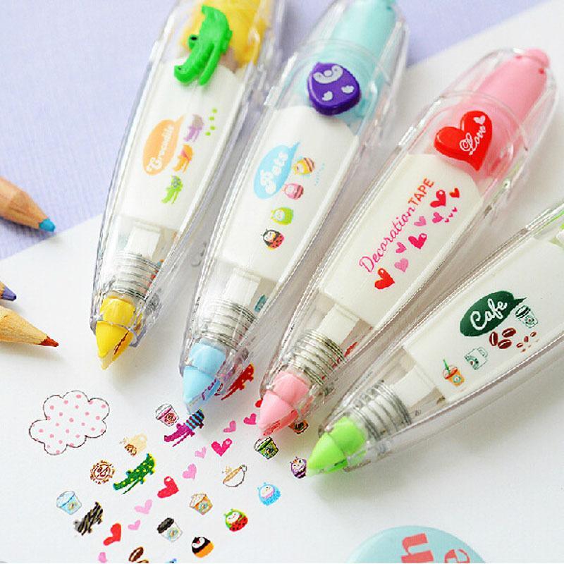 stylo ruban floral doux bandes de décoration de papeterie drôle enfants autocollant étiquette ruban correcteur de papier autocollant