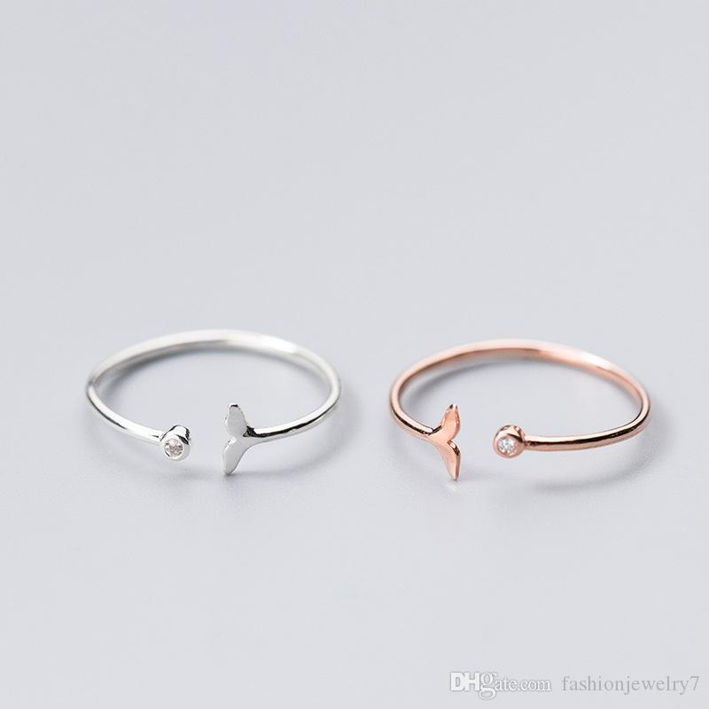 S925 silber Ring japanischer heiße Art Persönlichkeit cz Diamant netter Fischschwanz offenes Design Zeigefinger Ring weiblicher Schmuck