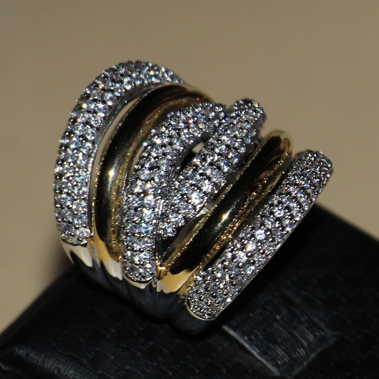 Victoria Wieck pleine pierres minuscules bijoux de 14kt Mode féminine WhiteGold or rempli zircons cadeau de fiançailles de mariage de bande Anneaux Taille 5-11