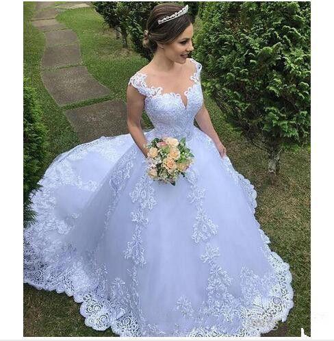 A-Line 웨딩 드레스 레이스 Appliqued 보석 목 캡 슬리브 플러스 크기 사용자 지정 만든 지퍼 정원 신부 가운 2019