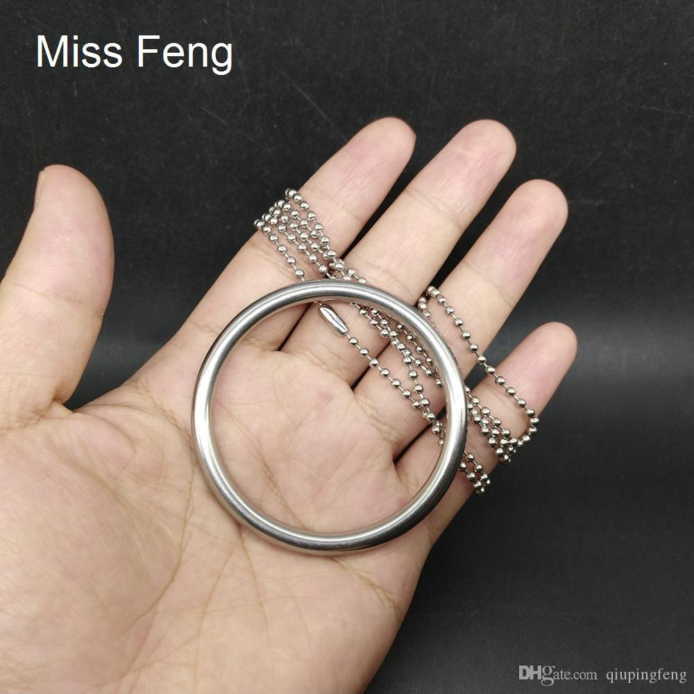 H480 / Novedad acero inoxidable de 5 x 50 mm Anillo de 100 mm cadena clásico truco mágico del anillo del juego del rompecabezas