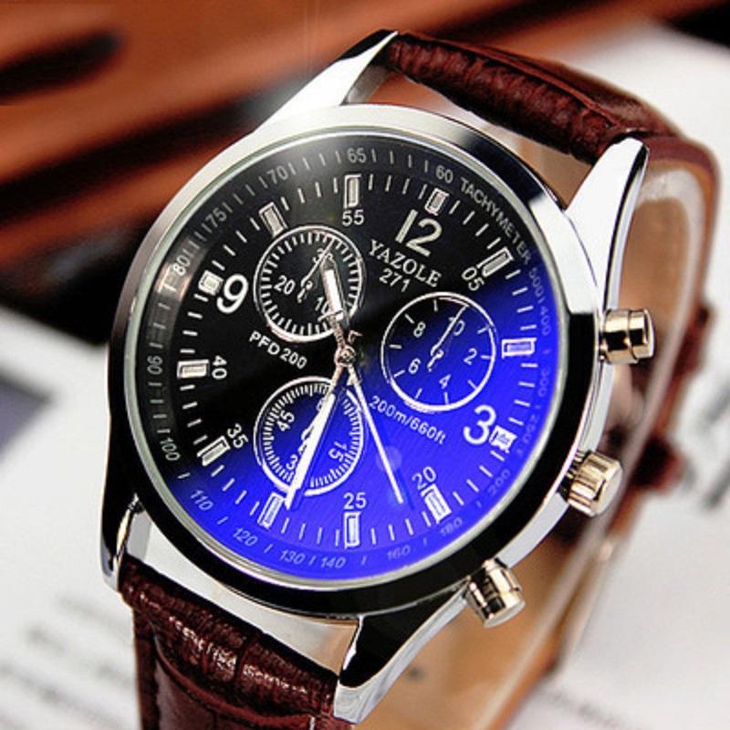 Couro Mens Analog Quarts Relógios Blue Ray Men relógio de pulso Mens Relógios Casual Negócios Urban Moda relógio relógio barato