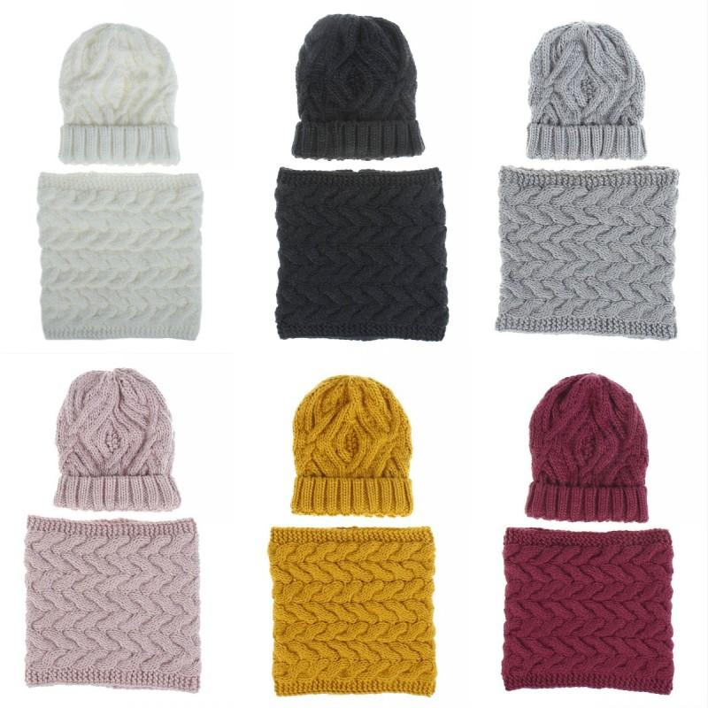 Knitted Scarf Beanie Hat Autumn Winter Slouchy Warm Knit Caps Neckerchief Comfortable Wool Cap Scarf Suits Ski Skull Hats N42Z