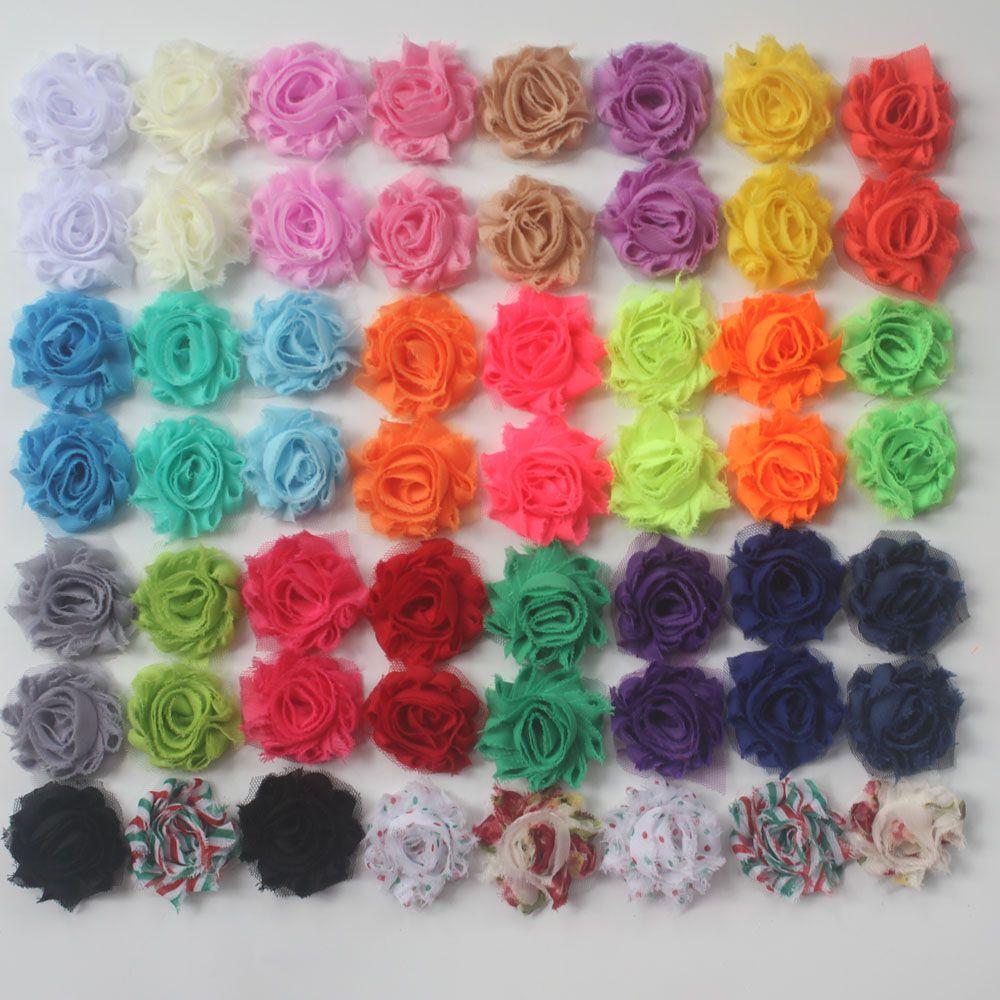 """100 piezas 1.5"""" flores lamentables de la gasa petite accesorios para el pelo del bebé del clip ropa diadema de pelo, equipos de la flor del arte"""