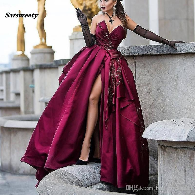 Vintage Burgundy Prom Dresses High Side Split Delicate Embroidery Beaded Lace A-line Prom Gowns Robe De Soiree Abendkleider