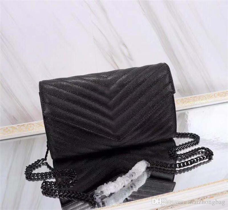 WOC 봉투 크로스 바디 백 캐비어 소 가죽 고전 은색 골드 체인 가방 하나 어깨 가방 여성 핸드백 지갑