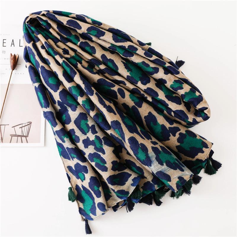Saison écharpe super écharpe de coton Châle double usage classique bleu imprimé léopard long Fonds écharpe Ma'amNew Hot Fashion