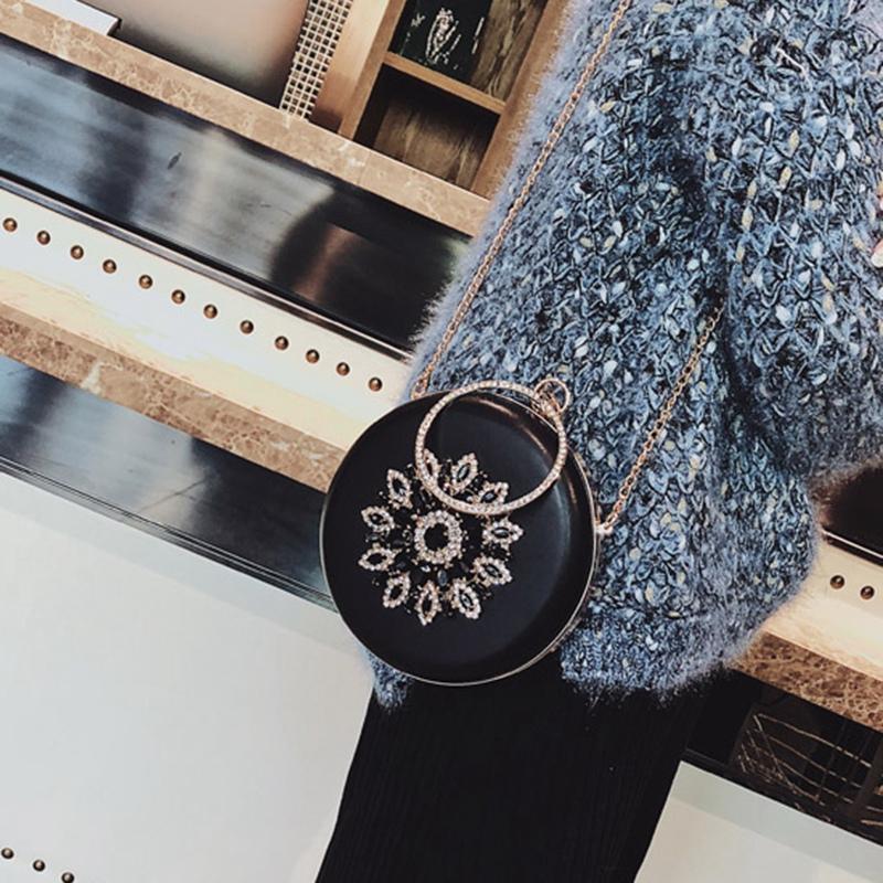 Turno Evening Clutch diamante Girasole sacchetto del partito, frizione catena nera