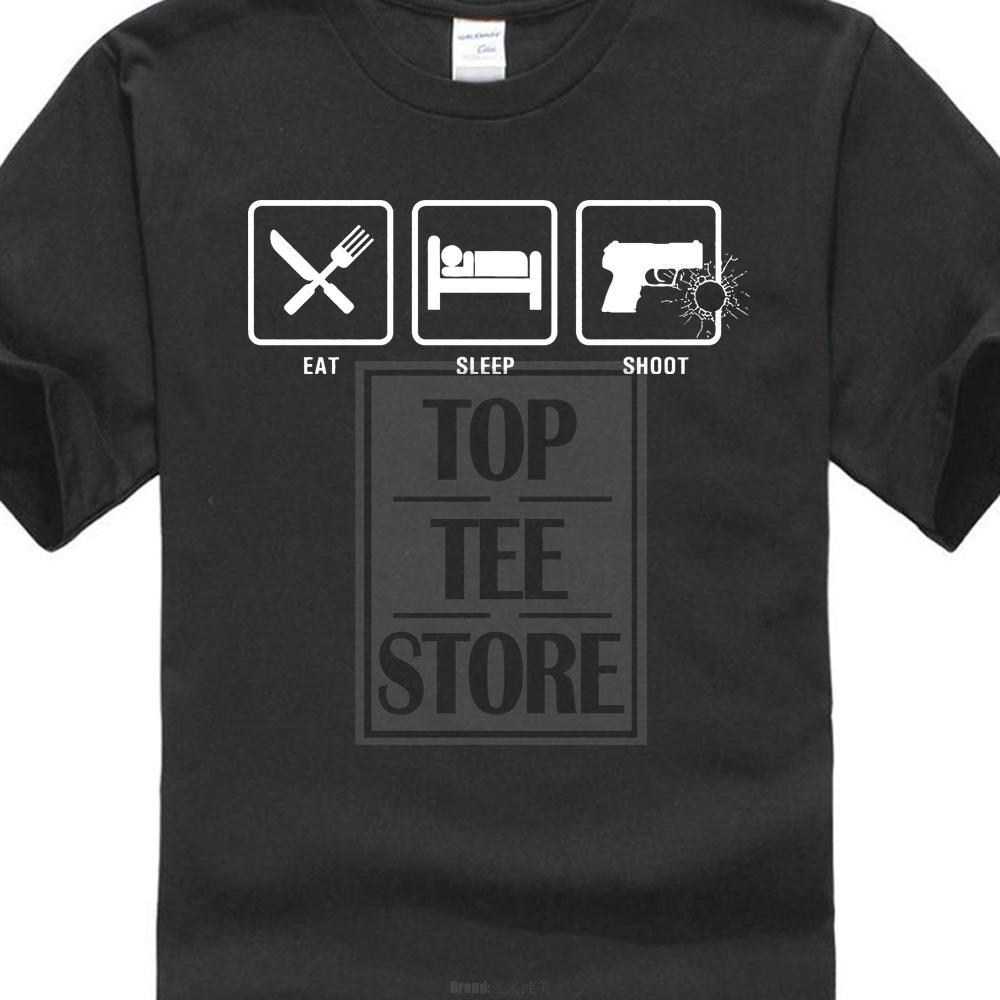 Футболка O-образным вырезом с коротким рукавом Eat Sleep Shoot Nra Guns Пистолет скрытого ношения 2-я футболка с поправками Белая футболка