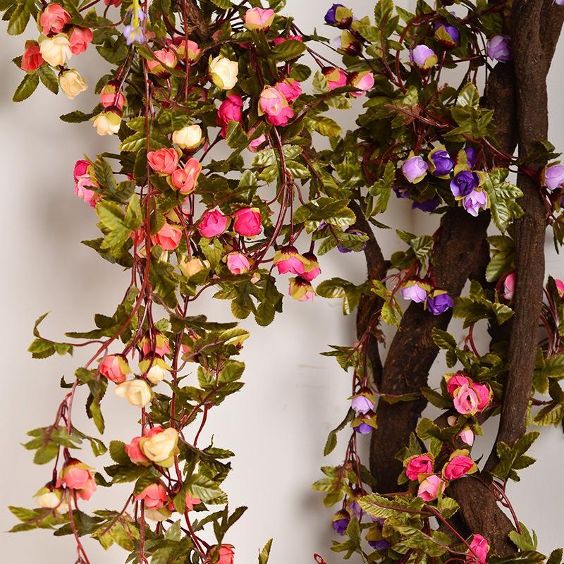 220cm Estilo europeo Rosas de seda falsas Ivy Vine Flores artificiales con hojas verdes para el hogar Decoración de la boda Guirnalda colgante