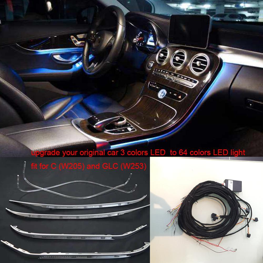 2020 3/64 cores LED ambiente painel da porta de controlo central luz luz consola para Mercedes-Benz Classe C W205 GLC (W253) C180 C200