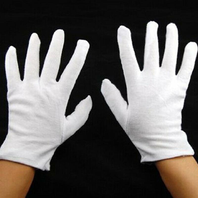 12 pares luvas brancas de algodão fina e macia Coin Jóias Luvas de Prata trabalho de inspeção Universal Household Limpeza Garden