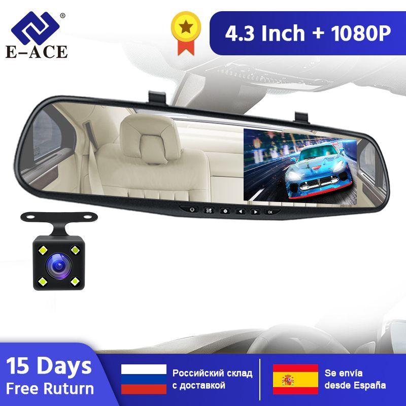 E-ACE Car Dvr Mirror Dash Cam Dual Len зеркало заднего вида FHD 1080P Auto Dashcam Video Recorder регистратор с камерой заднего вида