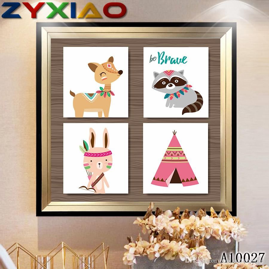 ZYXIAO Big Size Oil Painting Art cartoon cute animal rabbit cat Home Decor on Canvas Modern Wall Art No Frame Print Poster picture A10027
