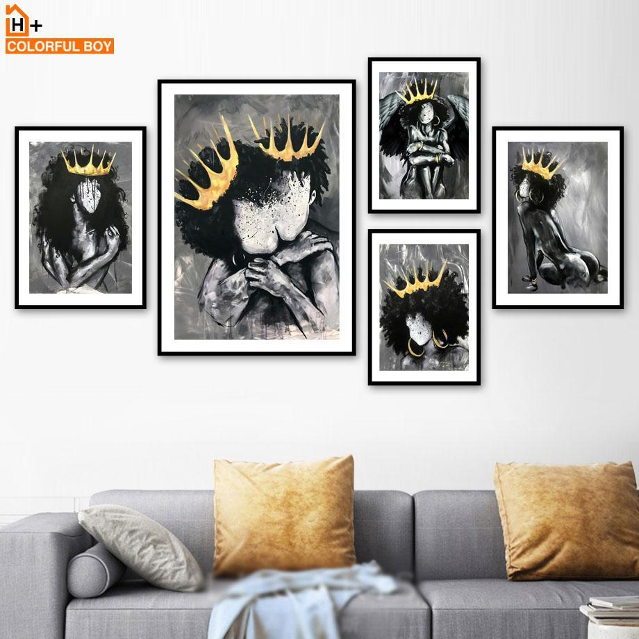 Angel Queen Black Girl Boy Nordic Posters and Prints Wall Art Canvas Painting Print Wall Pictures for Living Room Club