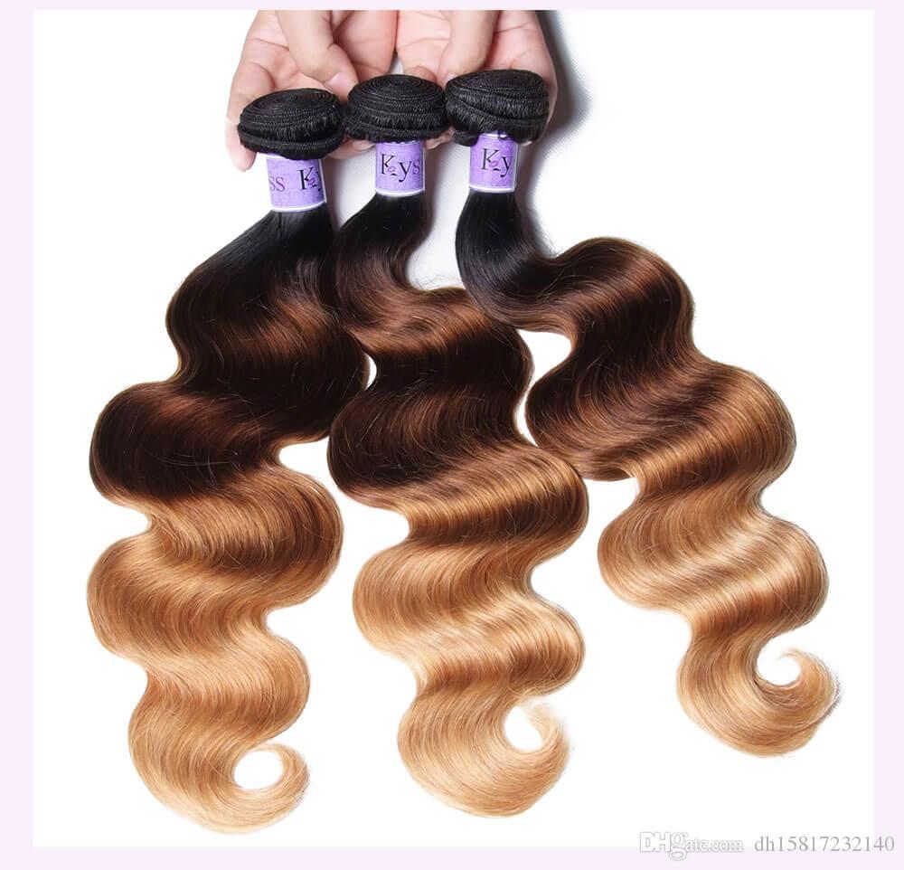 serie dei capelli TKWIG 3 fasci di tre tono del corpo umano ombre vergine del merletto di seta capelli Europeo Dritto