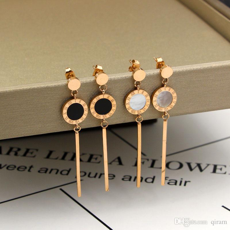 Heiße Verkauf Art und Weise Marke Titan Stahl Roman lange Ohrring schwarze und weiße Farbe Schmuck 18k vergoldetes Silber / rosa Farbe für Frau Geschenk