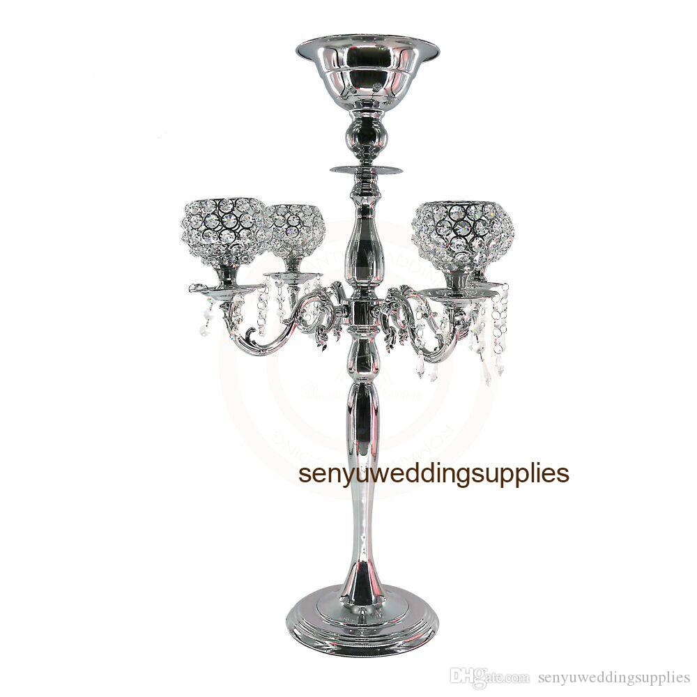 Five arms Gold or Silver 30''tall Candle Holder candelabra for wedding table centerpieces decoration senyu0217