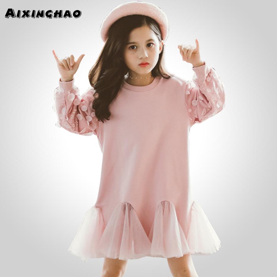 봄 드레스 소녀 메쉬 패치 워크 운동복 드레스 소녀 레이스 꽃잎 슬리브 여자 파티 드레스 가을 패션 여자 의류 T200624