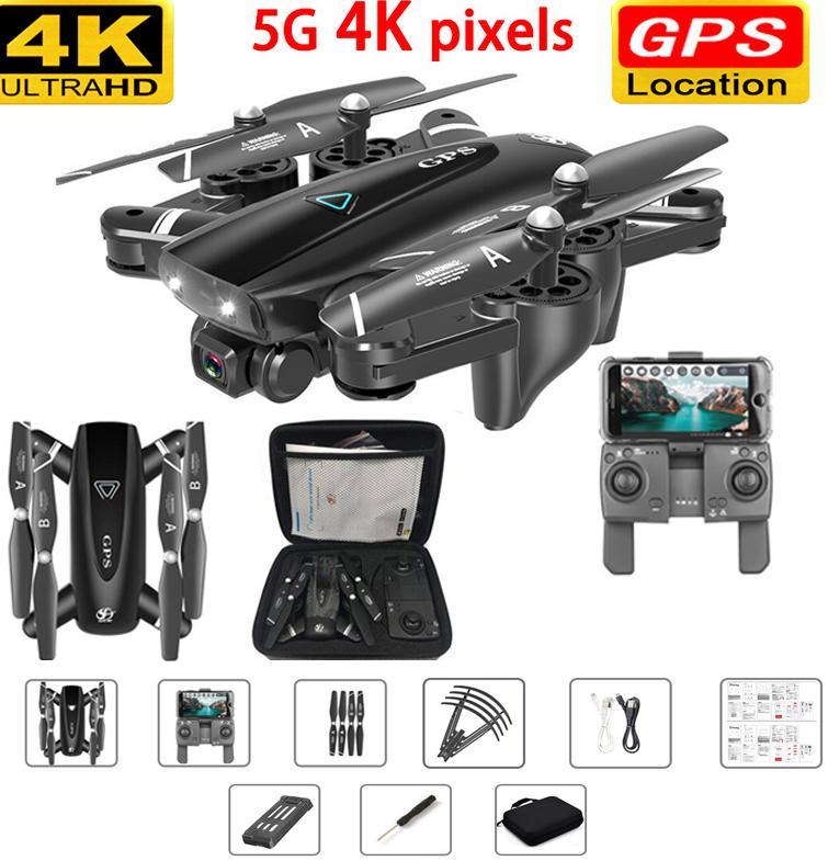 RC 비행기 GPS 무인 항공기 4K 카메라 5G RC 헬기 쿼드 콥터 드론 HD 4K WIFI FPV 접이식 오프 포인트 비행 RC 비행기와