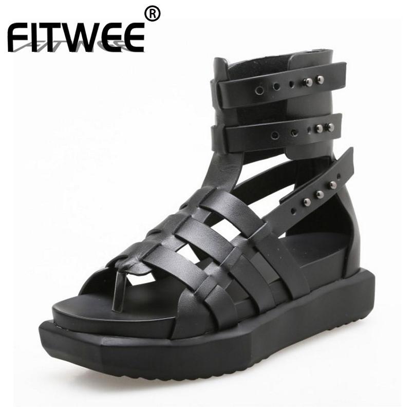 FITWEE Kadınlar Sandal Gladyatör Gerçek Gerçek Deri Kamalar Perçinler Yaz Ayakkabı tatil Plaj Kadınlar Chic Ayakkabı Boyut 35-40