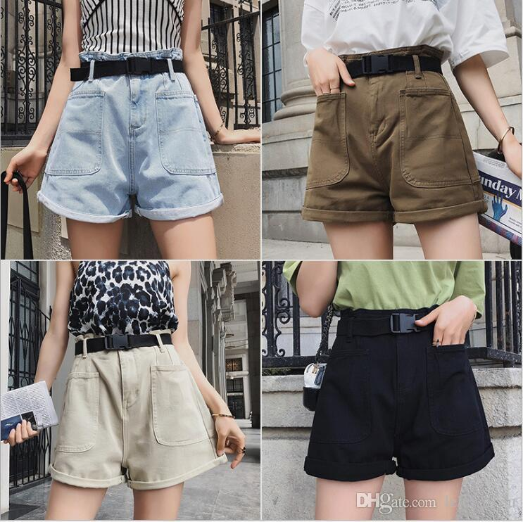 verão 2020 nova alta cintura multi-cor shorts jeans opcionais Shorts para mulheres com correias enormes calças de cintura fina ampla perna