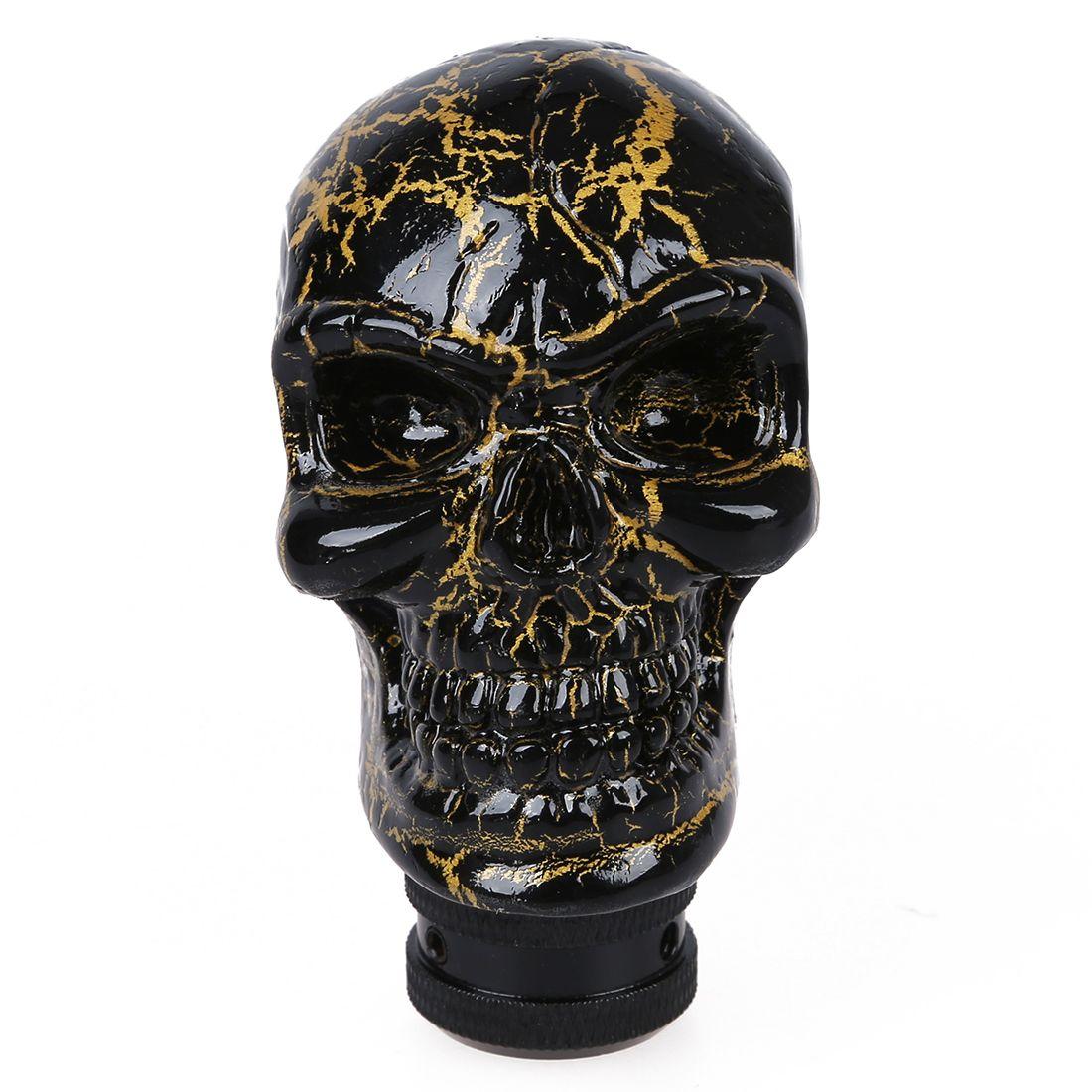 Auto Car Black Gold Tone Skull Head Style Ceramic Gear Shift Knob decoration