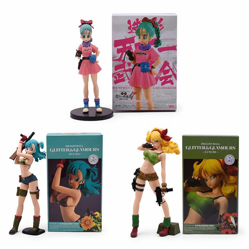 3 Estilo de Dragon Ball Z brillo Glamours Lunchi almuerzo Buruma Bulma figura de acción del PVC de colección modelo de juguete para los niños regalo Y191105