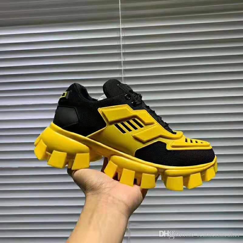 La nueva manera zapatos de diseño Cloudbust trueno top exterior Mesh Zapatos Hombres Mujeres Negro únicos zapatos casuales Amarillo Tamaño 35-46