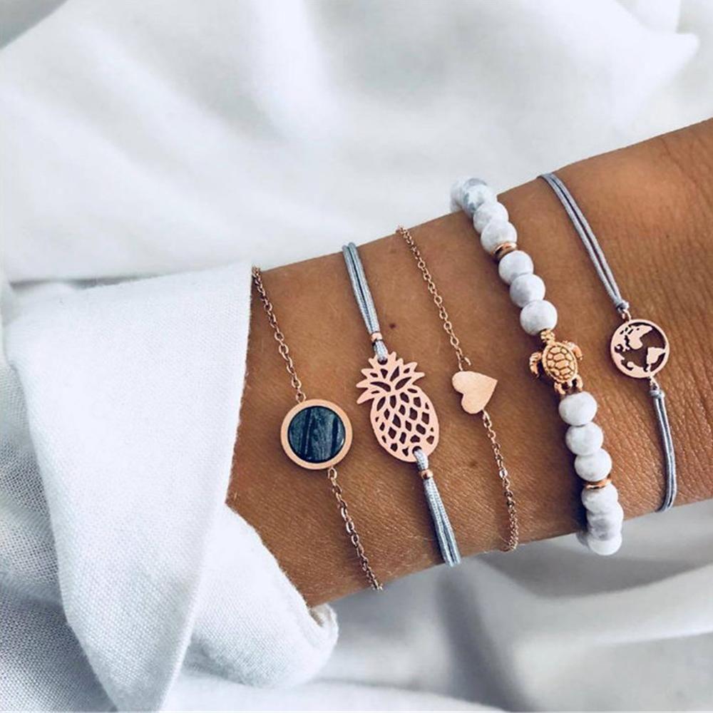 Бифштексы мраморного браслет Наборы для женщин шарика шарма сердца цепи браслетов браслетов мода Свадьбы подарка ювелирных изделий