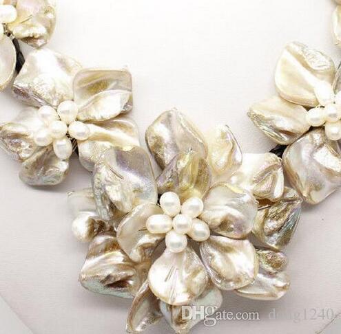 Venta a por prefeito barato clássico barroco cultivadas de agua dulce perla flor flor cuero tejido colarinho