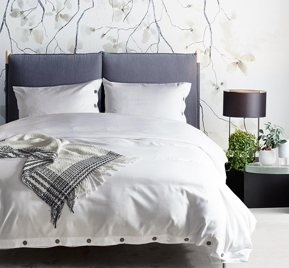 Envío gratis regalo de vacaciones de Navidad de color blanco sólido ropa de cama funda nórdica set + funda de almohada sham EE. UU. Reina doble king size con botones