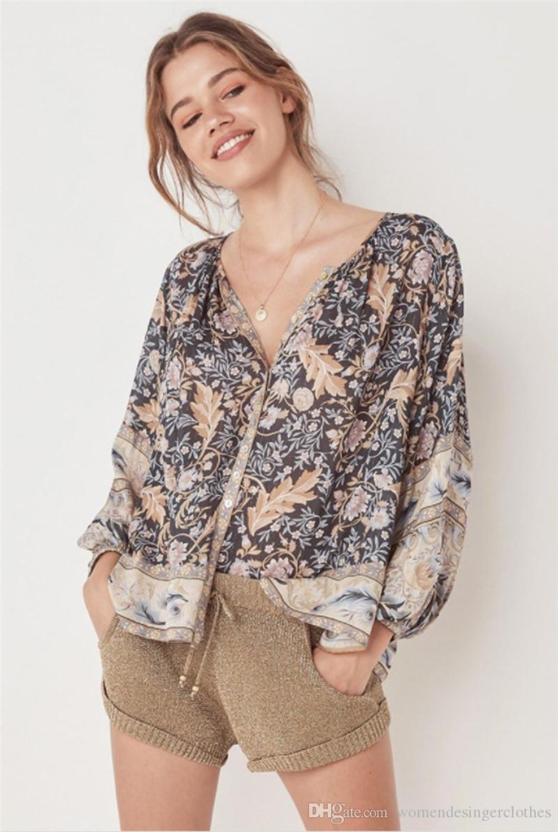Blumendruck-Damen Designer Shirts Art und Weise böhmische Art-lose Drucke Panelled Frauen Designer Hemden Freizeit Weibliche Kleidung