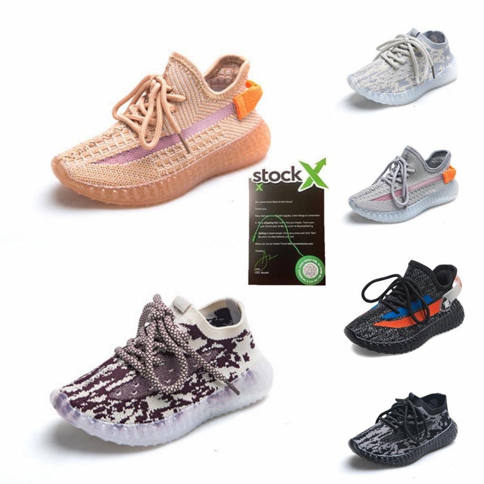Kanye West V2 véritable forme infantile Hyperspace enfants Chaussures de course Clay Mode enfant en bas âge Formateurs grand petit garçon filles enfants tout-petits Sneakerb0 # 98