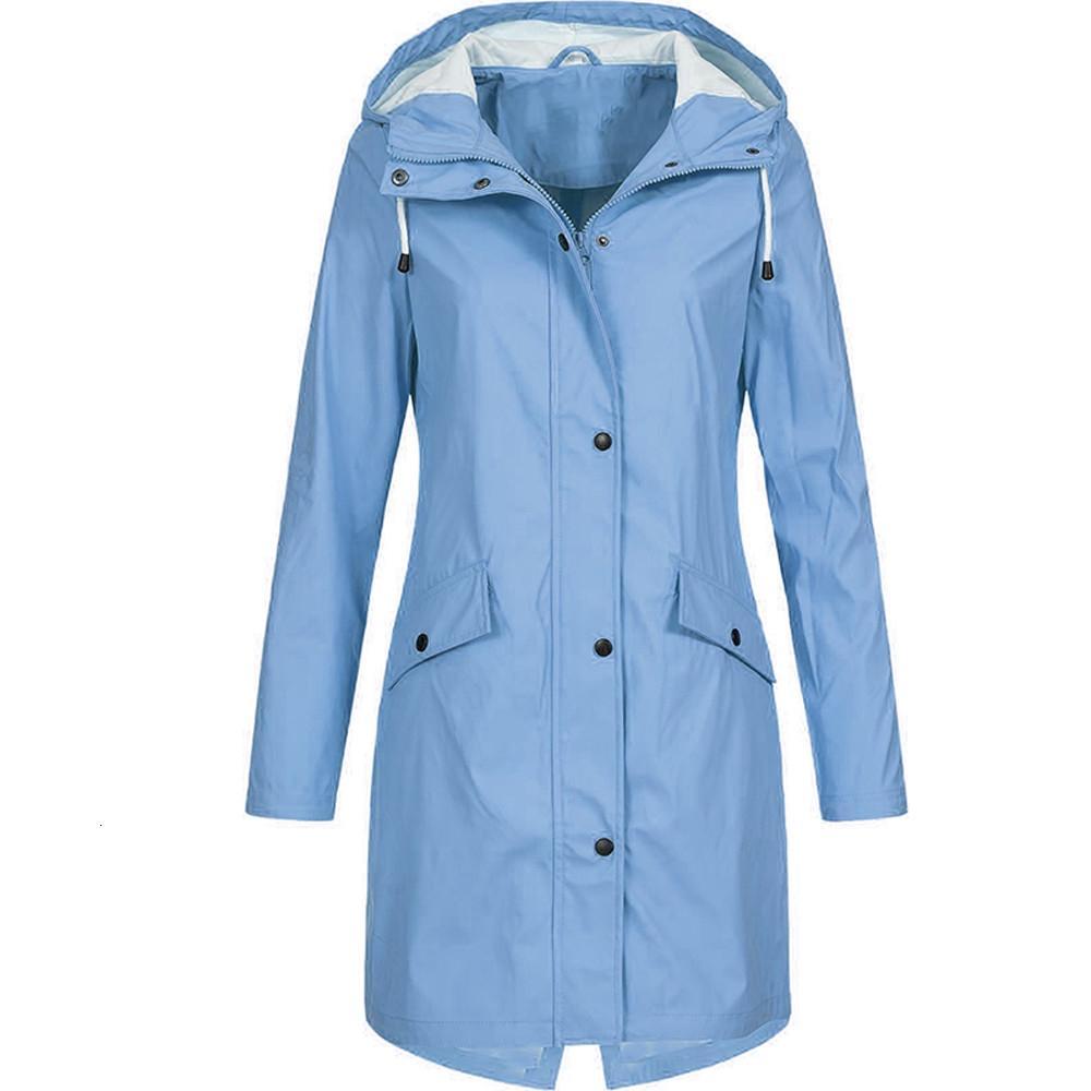 KLV femmes solide veste de pluie capuche extérieure imperméable long manteau pardessus coupe-vent grande taille veste chaude à capuche longue 2019 4.2 4.290909