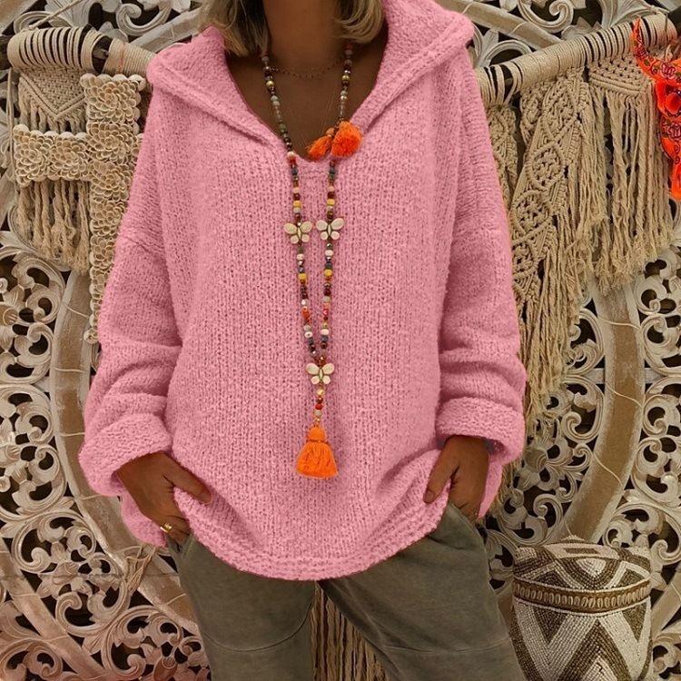 EResT 2020 suéter ocasional de punto para mujeres ocasional top de punto 2020 de las mujeres encapuchado de suéter suéter suéter superior de las mujeres