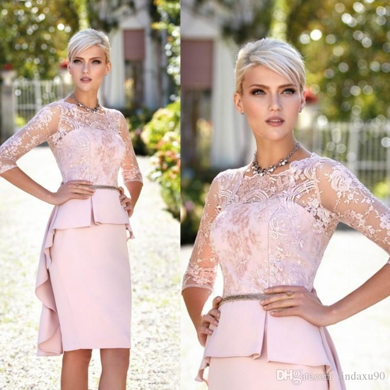 Peplum Pink 2019 Mother of the Bride Dresses Lace Appliqued 3/4 Long Sleeve Wedding Guest Dresses Jewel Neck Cheap Evening Gowns
