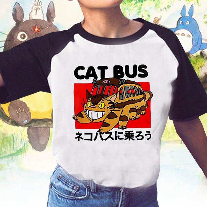 Мультфильм тоторо ездить на кошачьих автобусе женские рубашки Японская аниме футболка летом кошка шина для кошек печатные футболки с короткими рукавами