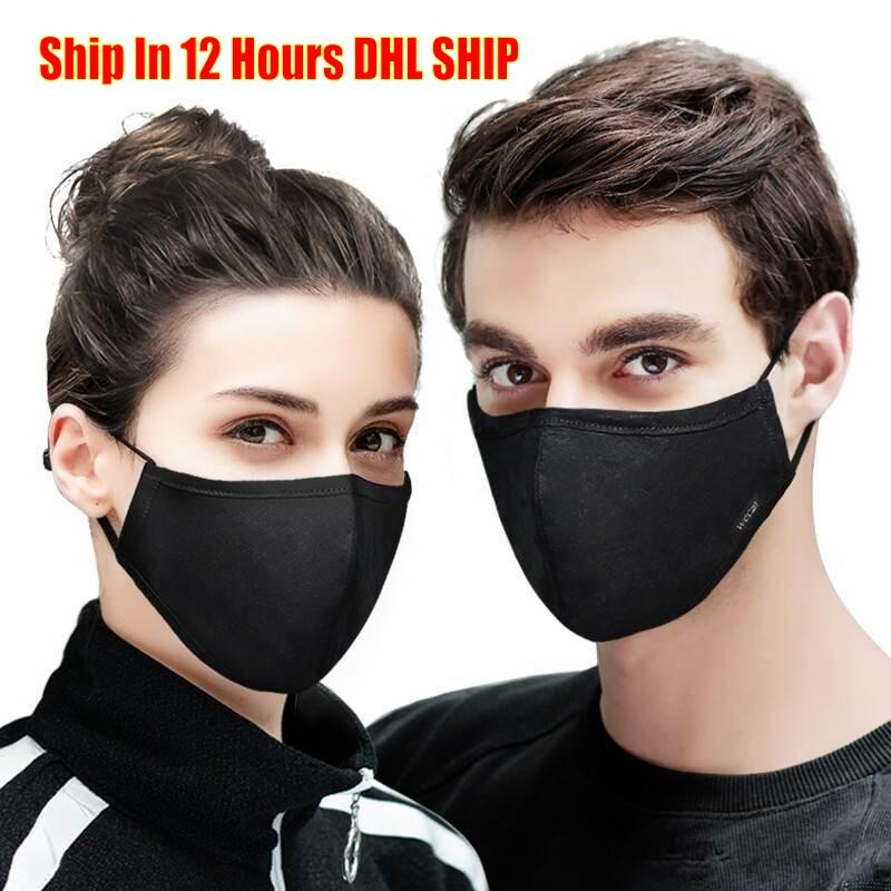 IN Stock DHL Ship Cotton Black mouth face Mask Anti PM2.5 dust Activated Carbon Filter Mask Fabric Face Mask