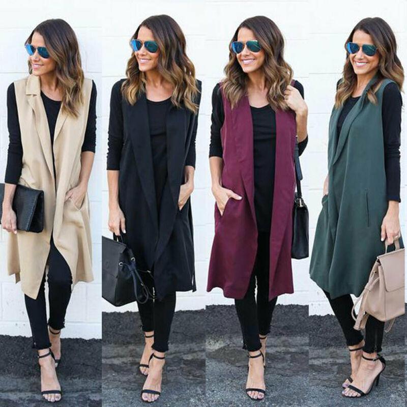 Sólido otoño invierno de la chaqueta del chaleco largo con bolsillo correa de las mujeres da vuelta-abajo Escudo abierto puntada sin mangas manera de Pantone