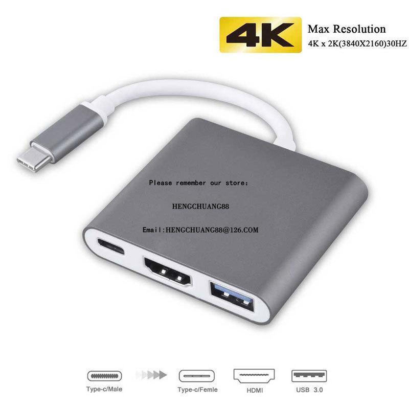 أسعار الجملة USB C HUB إلى محول HDMI ل MacBook Pro / Ai.R Thunderbolt 3 USB نوع C Hub إلى HDMI 4K USB 3.0 منفذ USB-C تسليم الطاقة