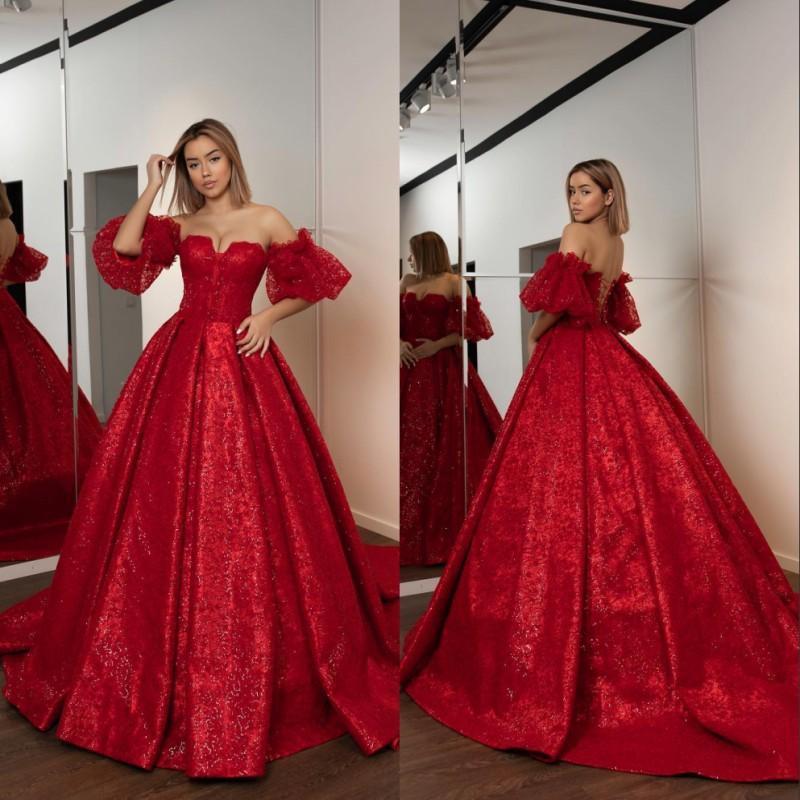 Elegante rot Ballkleid-Abend-Kleider lang weg von der Schulter Schatz-Sequined Appliques wulstige formalen Kleid Quinceanera Kleid Abendkleider