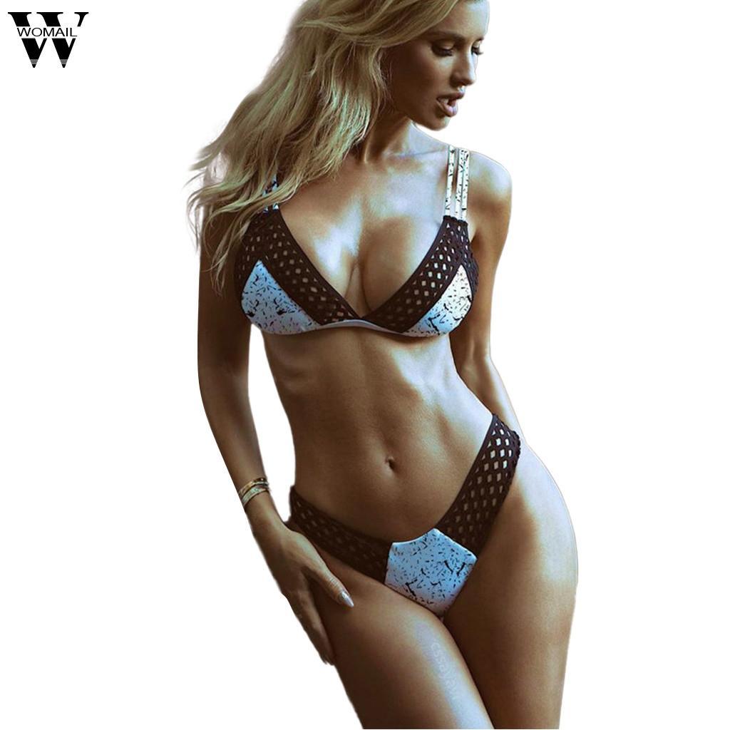 Womail plus size mulheres conjunto de sutiã sexy profundo decote em V design Push-Up Malha bandage swimsuit tinta dot impressão Bra conjunto 2 pcs Verão 2019