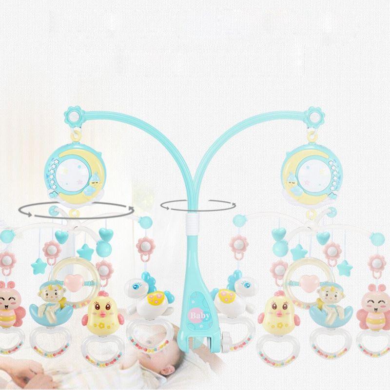 Chocalhos Crib Mobiles Toy Titular Rotating Berço Móvel Bed Musical Box Projeção 0-12 meses Infante recém-nascido Baby Boy Toys
