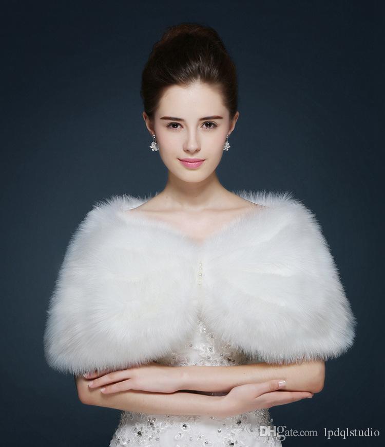 Winter Faux Fur Bridal Boleros Free Size Wedding Accessories Wedding Bridal Wraps Ivory Warm Boleros Cheap