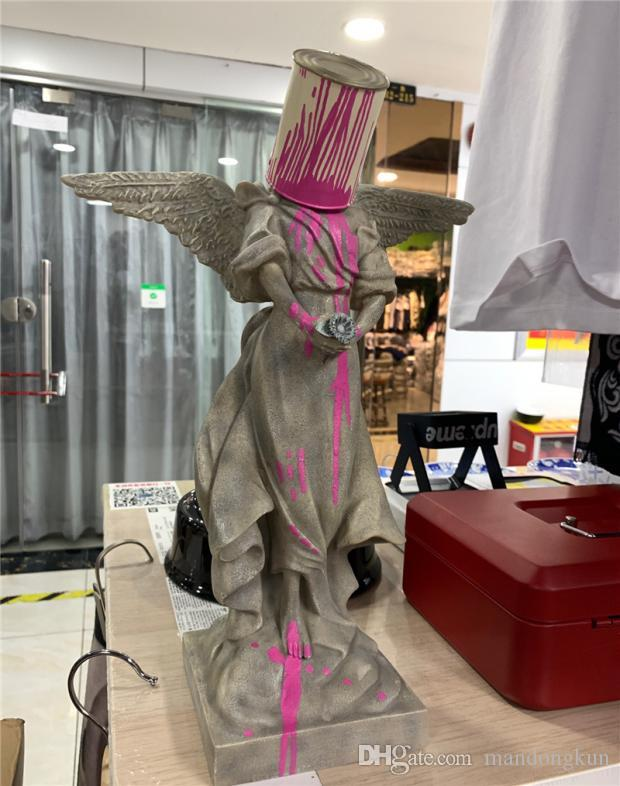 Banksy Iron Bucket Angel Art Collection Splashing Paint Creative Sculpture 20*36cm