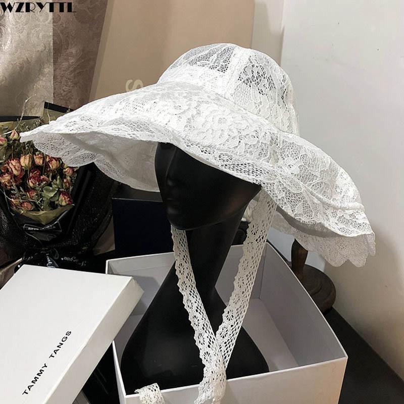 Nuevo Floppy Lace Hat Summer Big Wide Brim Sun Hat White Black Lace Party Sombreros de boda Packable Beach