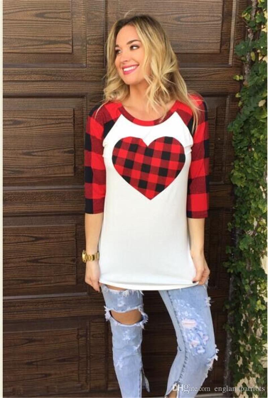 Valentinstag Damen Designer-T-Shirts Art und Weise Liebe Plaiddruck lange Hülsen-Frauen-T-Shirts beiläufige Frauen Kleidung